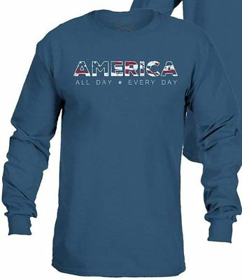 0c37db0c NWT - GRUNT STYLE Men's 'ACAL AMERICA' LONG SLEEVE Indigo GRAPHIC T-SHIRT