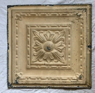 1890's 12 x 12 Antique Tin Ceiling Tile Tan Metal Reclaimed Anniversary 43-19