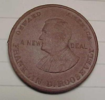 Franklin D. Roosevelt New Deal NRA Token 25mm Bronze Plated Over Unknown Base