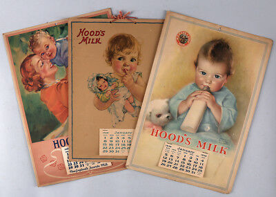 Lot of 3 Vint. Hood's Milk Advertising Calendars Wholesome Mother & Baby Imagery