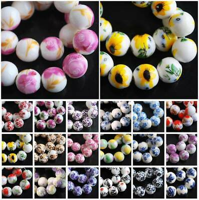 10pcs 10mm 12mm Round Flower Pattern Ceramic Porcelain Loose Crafts Beads lot