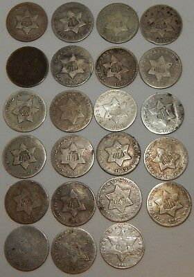 1851 - 1862 - 3 Cent Piece Silver - Lot Of 23 Coins ----- #679Z