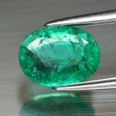 RARE! CERTIFICATE Inc.*1.09ct 8x6mm Oval Natural Green Emerald, Ethiopia