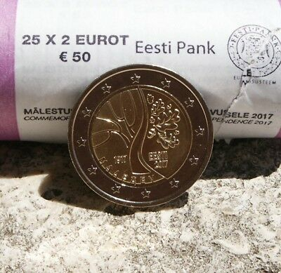 "Estonie Piece 2 Euro Commemorative 2017 ""independance"" Neuve"