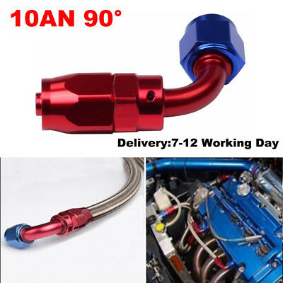 10AN AN10 90 Degree Red&Blue STRAIGHT Swivel Seal Hose Fitting Anodized Fit Ford