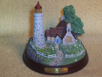 The Light Of Peace Thomas Kinkade Lighthouse Display Piece Lights Up Battery Op.