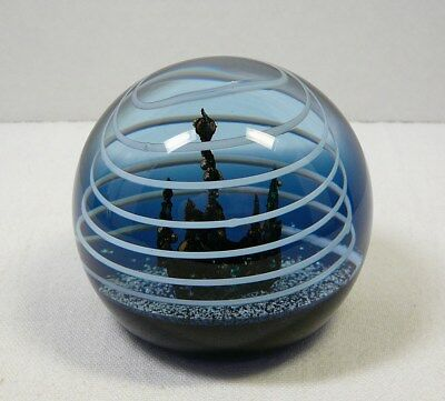"""Caithness Scotland Triton Art Glass Paperweight 3-1/8"""" Colin Terris Space LE/750"""