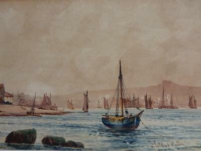 really old PAINTING water colour  WHITBY HARBOUR signed