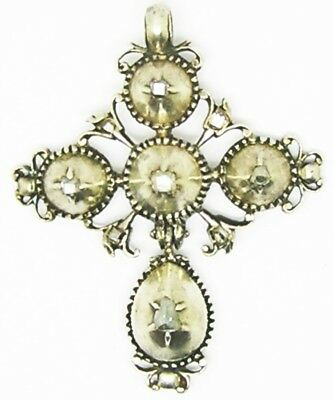 Wonderful mid 17th century Baroque Silver Table-cut Diamond Cross Pendant Jewel