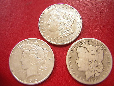 Lot of 3 Silver Dollars,Morgan & Peace  / 1921-s  1922-s  1881 / U S Coins 824