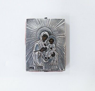 Old Antique Russian Icon of Smolenskaya  Mother of God, 19th century