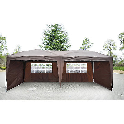 Pop Up Party Wedding Tent Canopy Shelter w/ 4 Sidewalls Outdoor Brown