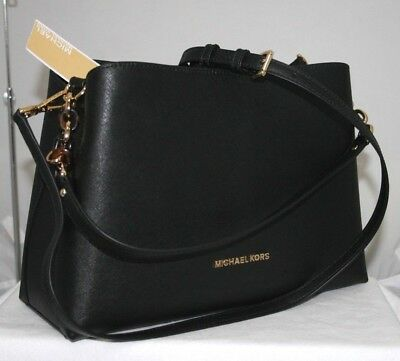 3e8106581147 MICHAEL KORS NEW Black Solid Smooth Leather Odin Large Briefcase Bag ...