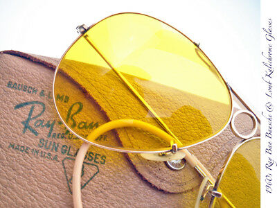 1960s BAUSCH & LOMB RAY BAN KALICHROME YELLOW SHOOTING MINT RARE VINTAGE GLASSES