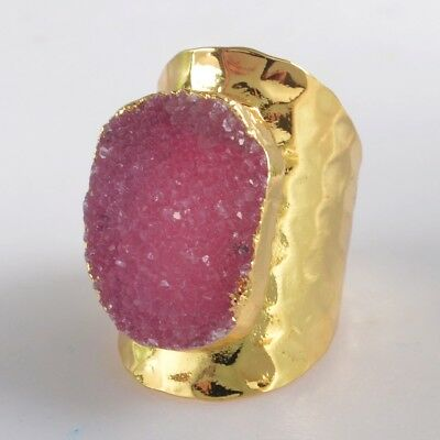 Scratched Size 7 Hot Pink Agate Druzy Geode Ring Gold Plated H128905