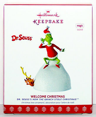 2017 The Grinch WELCOME CHRISTMAS NEW Hallmark Dr Seuss How Stole Ornament MAX