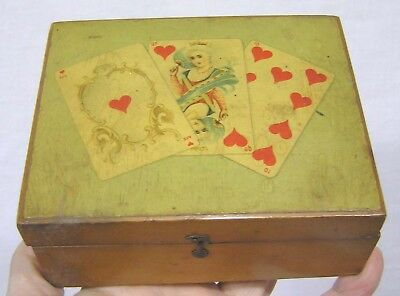 Vtg Advertising Box Brooks Soft Finish Thread Playing Card Imagery 1900s
