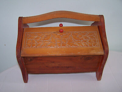 Vintage Wood Wooden Sewing Box Swivel Handle Double Hinge Two Sided Carved Lid