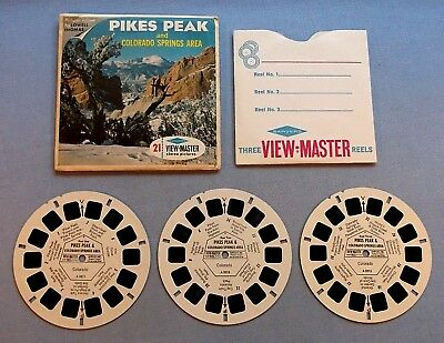 Viewmaster Reels - Pike's Peak - Set Of 3 With Cover In Very Good Condition