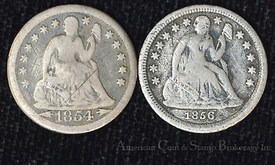 10c Cent Dime 1854 1856 Liberty Seated Silver Ten Cents Lot of 2