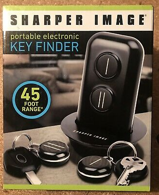 Sharper Image Portable Electronic Key Finder 45 Ft Range 2 Fobs
