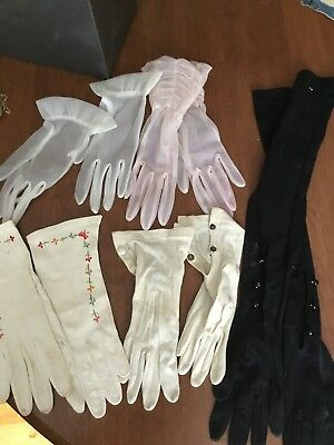 Lot Vintage Gloves :Elbow Opera Kid Leather Sheers
