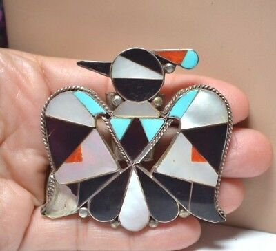 Native Old Pawn ZUNI  Sterling Thunderbird Inlay Multicolored  Bolo Tie - Repair