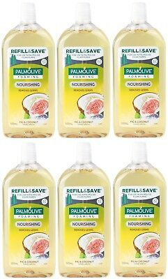6 x PALMOLIVE 500mL FOAMING HAND WASH REFILL FIG & COCONUT 100% Brand New