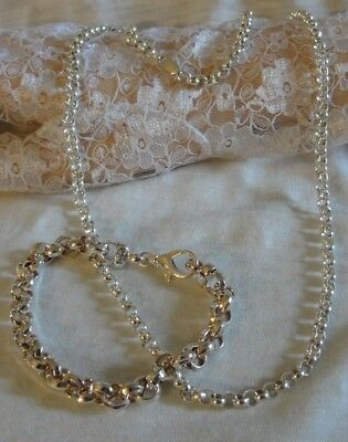 "Milor Sterling Silver Chain 24"" Necklace and Bracelet 925 50.9 grams Set"