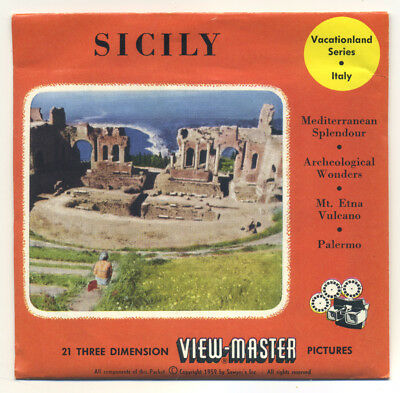 SICILY Italy Sicilia Italia 1959 ViewMaster Packet with Reels 1690-ABC Exc Cond.