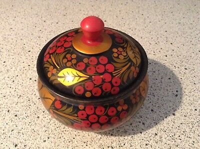 Vintage Russian Lacquer Painted  Gold Leaves & Berries Sugar Bowl w/ Lid