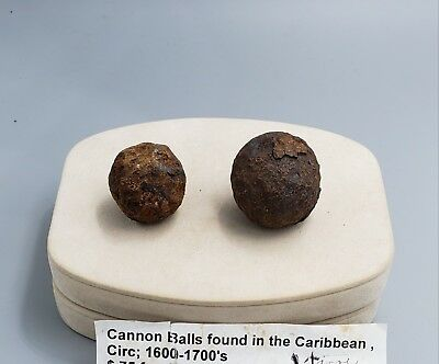 Antique Spanish Cannon Balls found in the Caribbean, circ: 1600-1700s