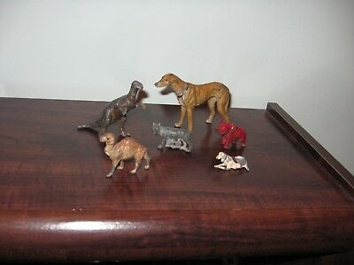 Lot Of ( 6 ) Vintage Cast Iron  Small Animal Figures / Selling As Found