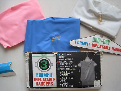 3 Unused Vintage Inflatable Clothes Hangers Rossini Formfit Travel for Drip Dry