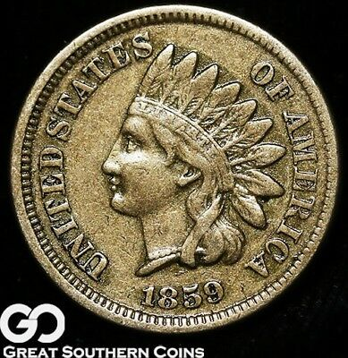 1859 Indian Head Cent Penny, First Year Date