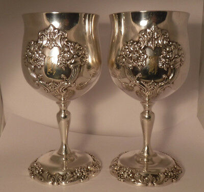 2 Reed & Barton Silver Plated Water Wine Goblets - King Francis # 1659 H mono **