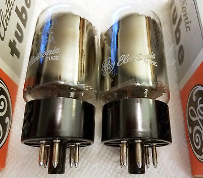 """2) GE 6L6GC NOS/NIB Tubes """"OO"""" Gtr Copper Rods Oval Mica Matched PAIR USA 1980!"""