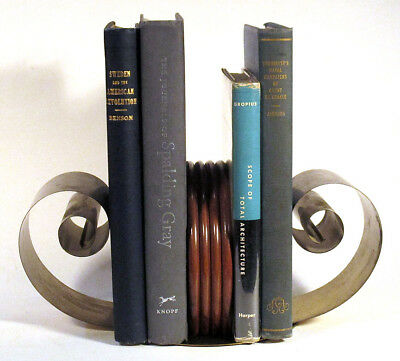1930s Vintage Brass Wood SPRING CURL SCROLL BOOKENDS Art Deco Chase Period