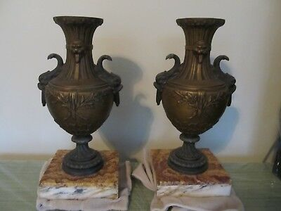 FRENCH BRONZED ART DECO PAIR OF URNS / VASES on RUST & CREAM COLOR MARBLE BASES