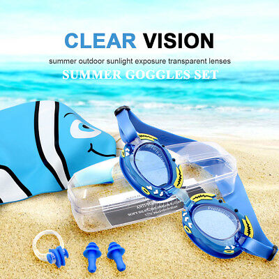 Anti Fog Kids Swimming Goggles Set No Leaking UV Protection (Age 3-15) Blue US