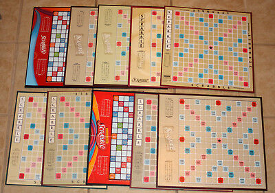Lot of 10 SCRABBLE Game Boards Vintage and Modern Mix Crafts Art Tournament