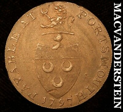 Great Britain: 1797 Portsmouth Halfpenny Conder Token !! #a9134