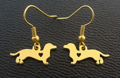 DACHSHUND Doxie DOG EARRINGS Jewelry - Art Deco look - Weiner Sausage Puppy Pup