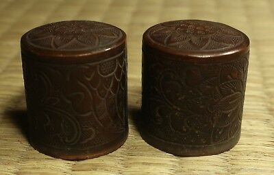 Copper Scroll-Painting End Caps / Set of 2 / Japanese / Antique