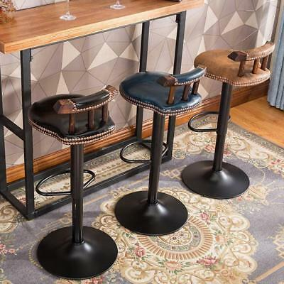 Industrial Vintage Rustic Retro Swivel Counter Bar Stool Cafe Chair With Backres