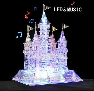 Cute 3D Crystal Puzzle Music Flash Model DIY Castle Jigsaw Puzzles Kids Gifts US