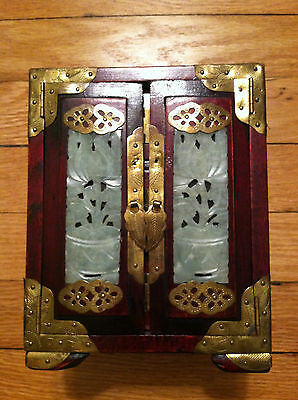 Vintage JEWELRY BOX Southeast Asian Chinese China JADE BRASS & ROSEWOOD