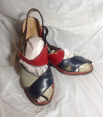 Vtg 1940s Soft Red Blue Stripe Leather Wedge Shoes Sandals Boho Glam Pin Up 9