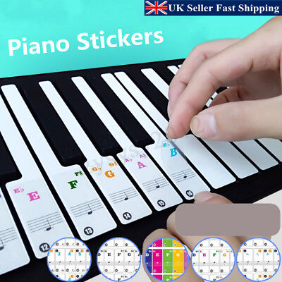 Music Keyboard/Piano Stickers 37/49/61/88 Key Set Removable Laminated Stickers