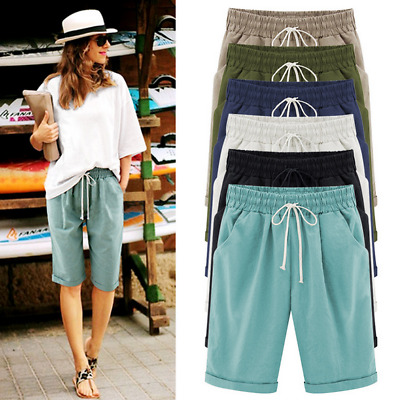 Plus Size Womens Ladies Linen Summer Casual Shorts Holiday Beach Pants UK 6-22